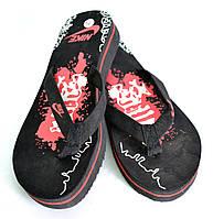 Шлепанцы женские пляжные OK-7333 (черно-красный)