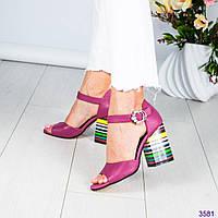 Босоножки женские на цветном каблуке, фото 1