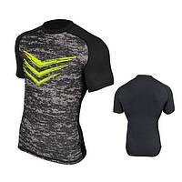 Компрессионная спортивная футболка Radical Rashguard Smite SS серая, мужской рашгард, футболка для спорта