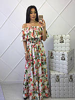 Белое платье в пол с цветами
