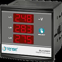 Вольтметр трехфазный электронный щитовой цифровой 3 фазы с тремя дисплеями 96x96 врезной цена купить