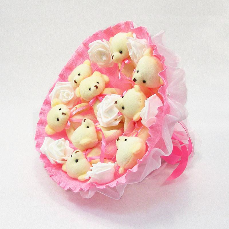 Букет из игрушек Мишки 9 розовый