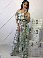 Вечернее платье в пол с крупными цветами