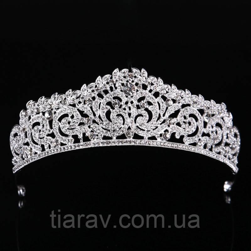 Диадема свадебная тиара СИНДИ серебристая корона свадебные украшения