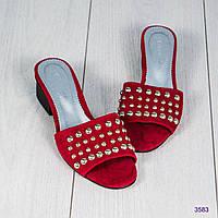 Шлепки женские с заклепками красные, фото 1