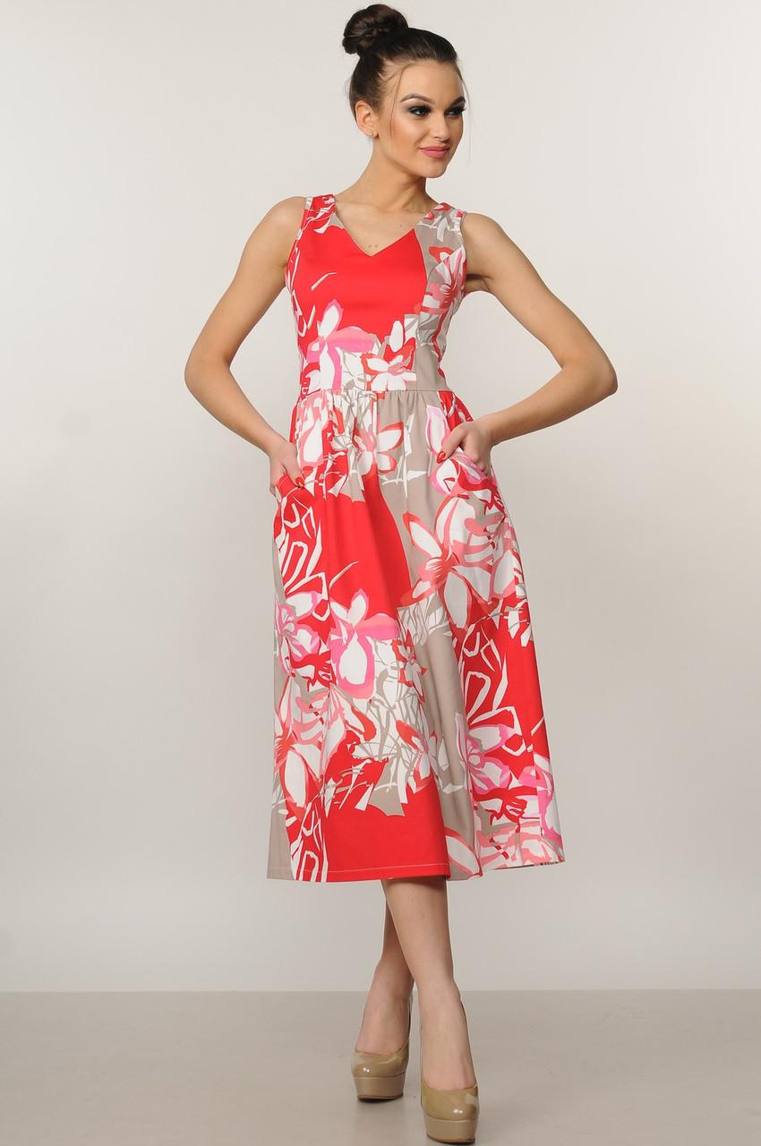 Элегантное платье Мила Ри Мари цвет красный р.42-52