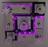 """Люстра потолочная """"Космос"""" с цветной LED подсветкой и автоматическим отключением с пультом (20х45х45 см.) Черный, хром YR-5292/3+2"""