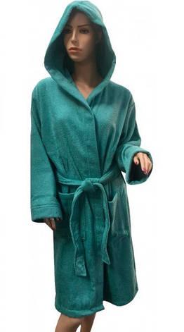 Халат Arya махровый с Капюшоном хлопок 100% Miranda Soft Аква S  M  L  XL, фото 2