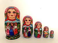 Подарок в украинском стиле Матрешка большая красивая 18 см, ручной росписи 5в1, на день рожденье подарок (11)