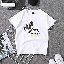 Женская футболка с собачкой белого цвета