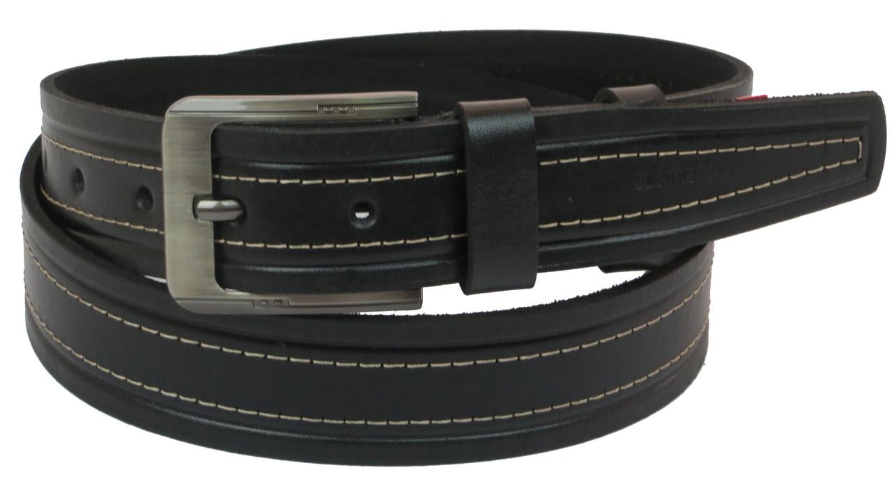 Мужской кожаный ремень под джинсы Skipper 1092-38 черный ДхШ: 135х3,8 см.