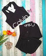 Женский спортивный костюм комплект Calvin Klein Кельвин кляйн майка и шорты двойка 2 цвета реплика