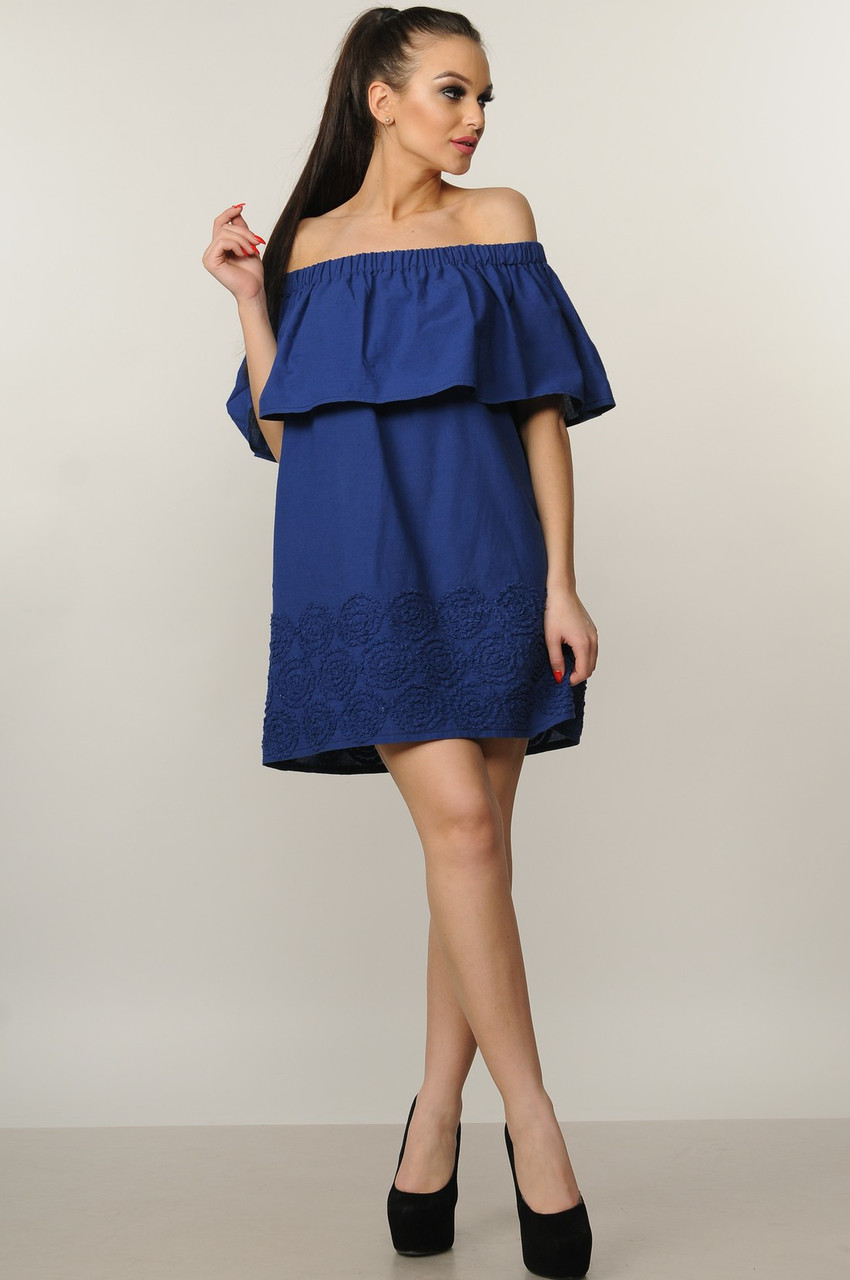 Платье Молли цвет темно-синий Ри Мари 100% хлопок р.42-52