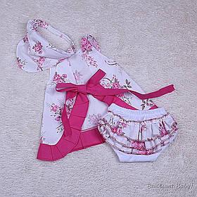 """Нарядный летний комплект для девочки """"Пироженка"""", розовый, 6-12 мес, 12-24 мес."""