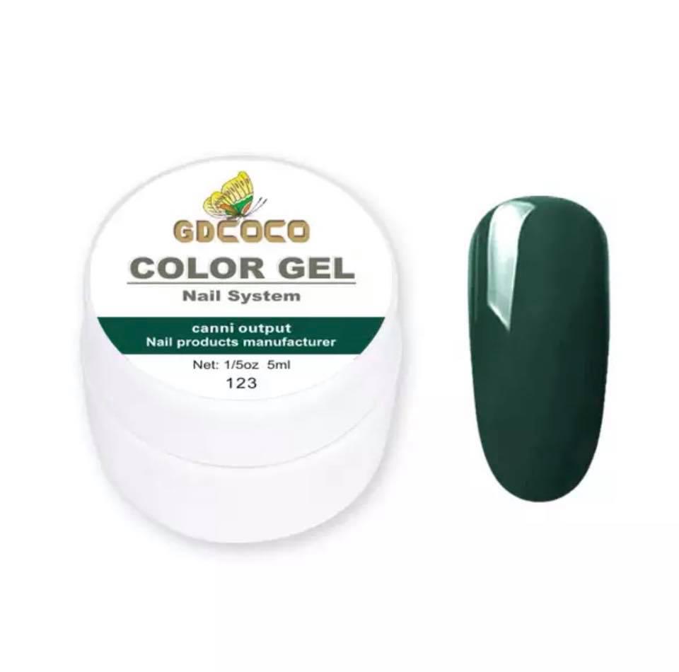 Гель-фарба GDСосо Color Gel 123 темно-зелений, 5 ml