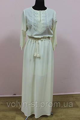 Шифоновое платье с вышивкой крестик