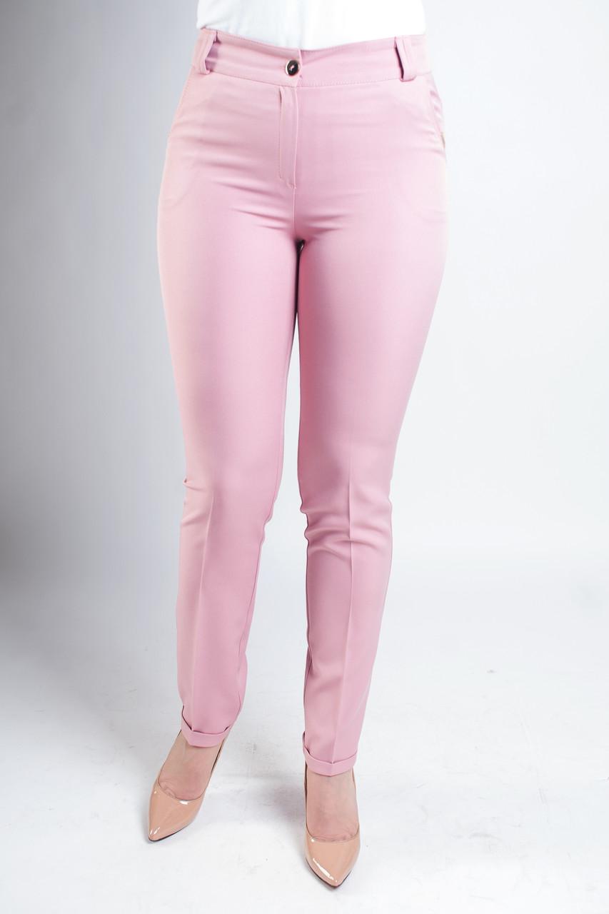 Женские брюки в деловом стиле с манжетами Адрианна розового цвета