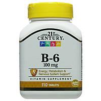 Вітамін B-6, 100 мг, 110 таблеток, 21st Century, США