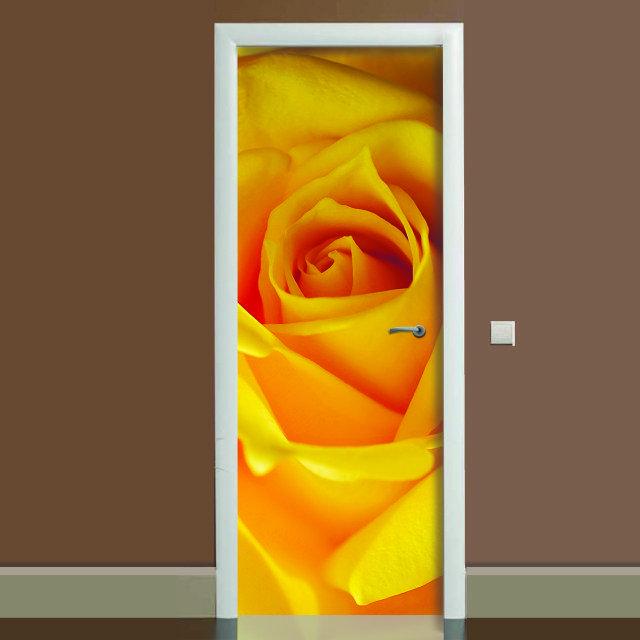 Наклейка на дверь Роза, (полноцветная фотопечать, пленка для двери)