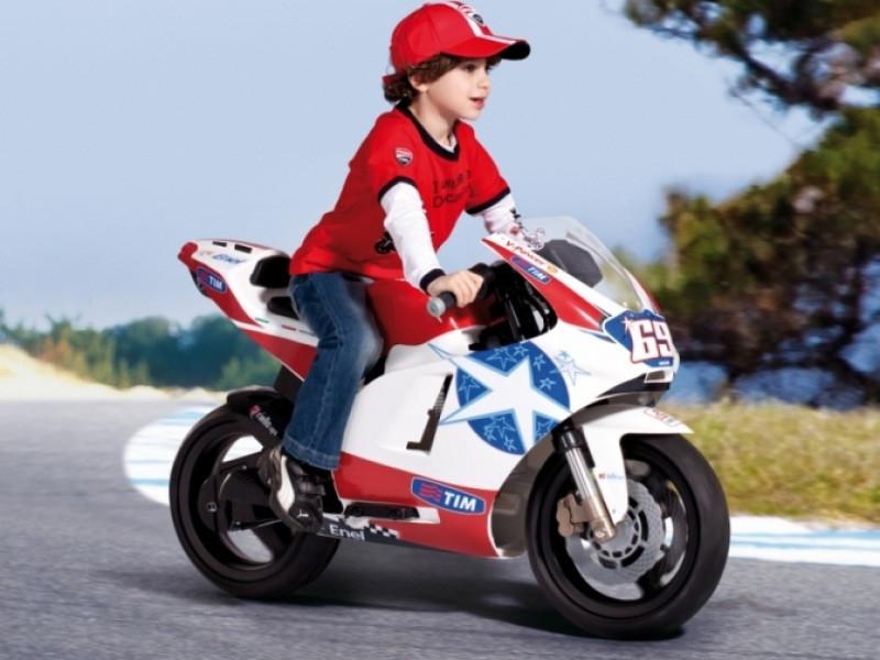 Детский мотоцикл Peg Perego Ducati GP Limited Edition 24V на резиновых колесах, мощность 350W