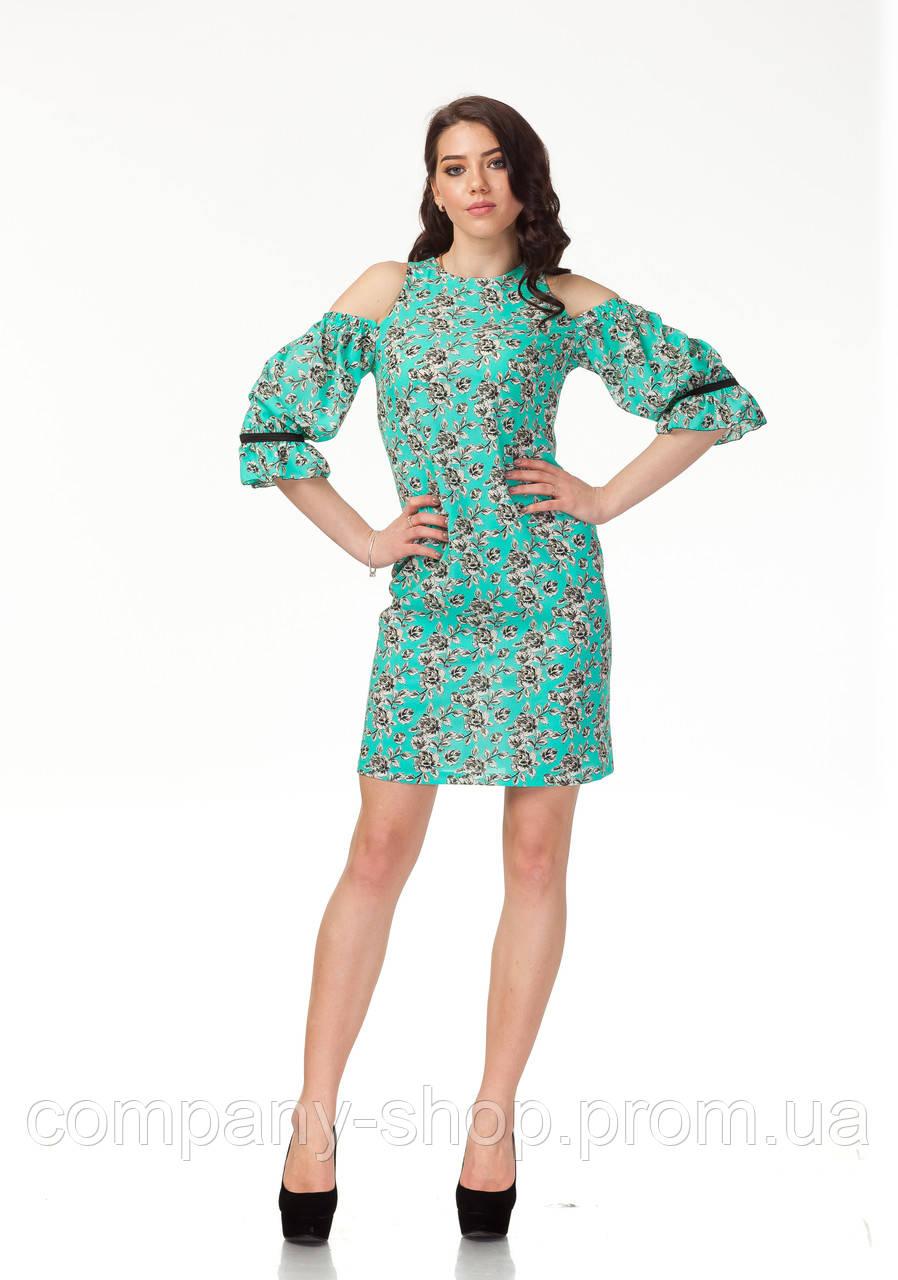 Платье с открытыми плечами. Модель П120_бирюзовые цветочки.