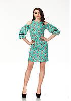 Платье с открытыми плечами. Модель П120_бирюзовые цветочки., фото 1