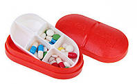 Контейнер для таблеток на 6 отделений красный