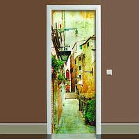 Наклейка на дверь Прованс 01, (полноцветная фотопечать, пленка для двери)