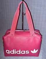 Cумка женская Adidas розовая (надпись белыми буквами), фото 1