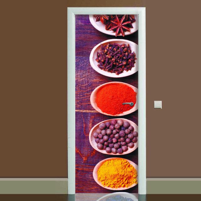 Наклейка на дверь Специи, (полноцветная фотопечать, пленка для двери)
