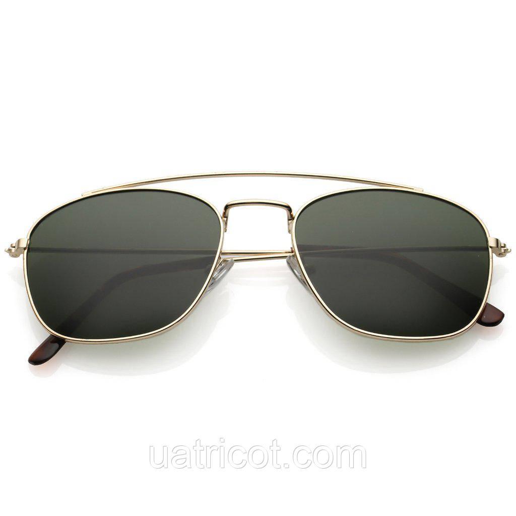 Мужские солнцезащитные очки авиаторы в золотой оправе с зелёными линзой