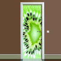 Наклейка на дверь Киви, (полноцветная фотопечать, пленка для двери)