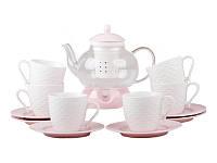 Набор чайных чашек с блюдцем+чайник на подставке  14 пр