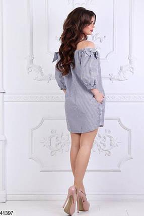 Летнее платье мини свободное открытые плечи полосатое , фото 2