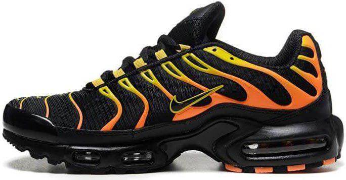 Мужские кроссовки Nike Air Max Tn Plus (Найк Аир Макс ТН Плюс) черно-оранжевые