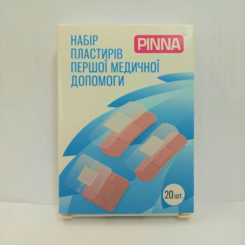 Пластырь - набор первой медицинской помощи размер 72*19мм х 12шт/ 72*25мм х 4шт/ 38*38мм х 2шт (20шт/уп) Pinna