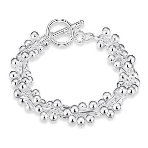 """Красивый женский браслет """"Виноград"""" покрытие серебро, фото 2"""