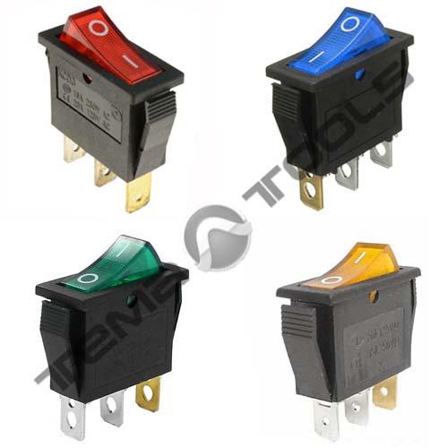Переключатели клавишные (рокерные) КП-36-И-220В узкий, 3 контакта, ON-OFF или ON-ON с фиксацией