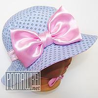 Комплект: детская панамка + повязка для девочки с завязками р. 44 ТМ Ромашка 4073 Розовый