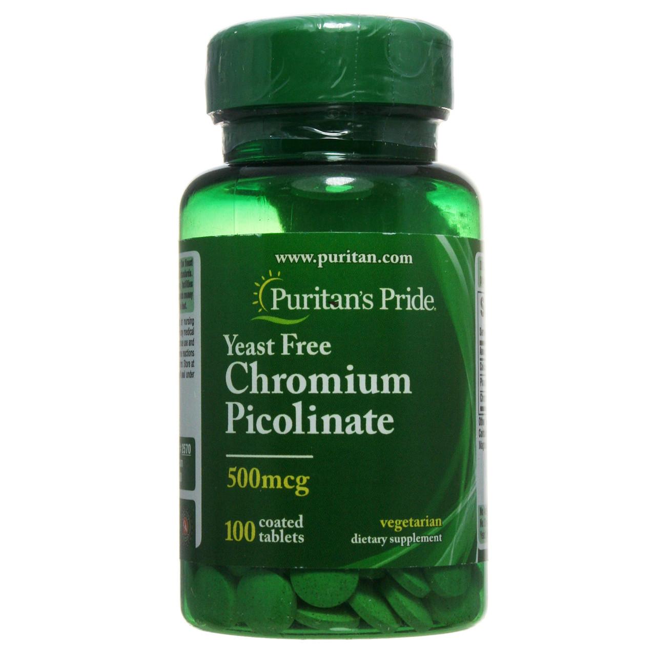 Пиколинат Хрома, Chromium Picolinate 500 mcg, Puritan's Pride, 100 таблеток