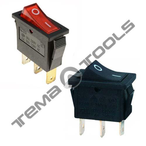 Перемикач 1-клавішний КП-36-220В вузький, 3 контакту, ON-OFF або ON-ON з фіксацією