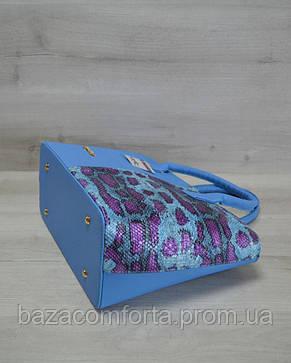 Классическая женская сумка «Две змейки» синий, малиновая змея, фото 2