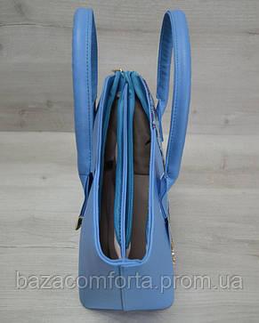 Классическая женская сумка «Две змейки» синий, малиновая змея, фото 3