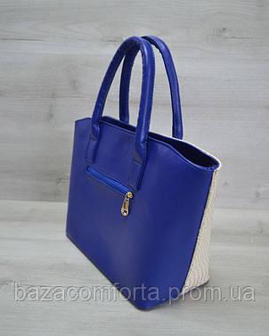 Классическая женская сумка «Две змейки» синяя, бежевая рептилия, фото 2