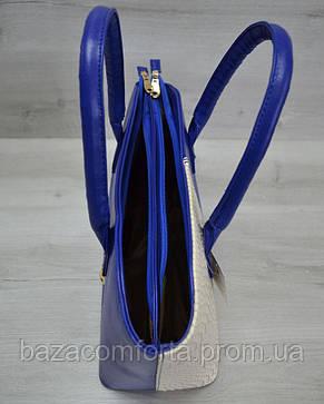 Классическая женская сумка «Две змейки» синяя, бежевая рептилия, фото 3