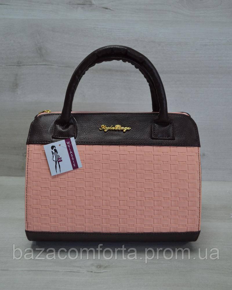 Молодежная женская сумка Плетенка пудрового цвета