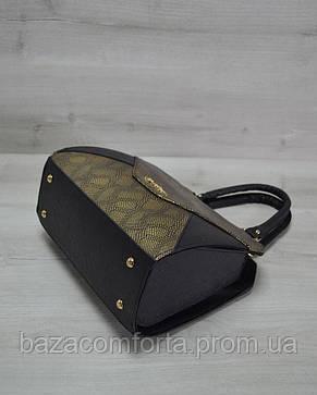 Женская сумка Конверт черная с золотом, фото 2