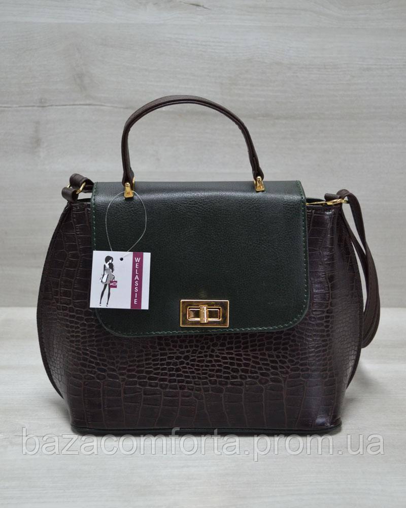 Молодежная женская сумка-клатч коричневый крокодил с зеленым гладким