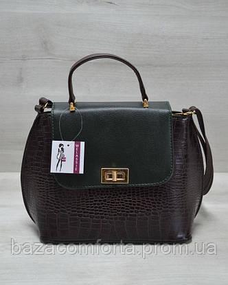 Молодежная женская сумка-клатч коричневый крокодил с зеленым гладким, фото 2