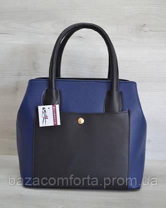 Сумка с карманом на кнопке синего цвета, фото 2